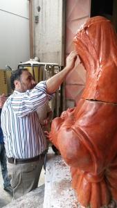 Madonna in bronzo - formatura in gesso - Fonderia Marinelli